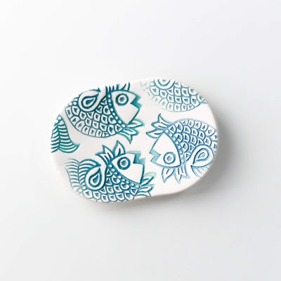 Blue white Fish ring bowl - DoodlePippin