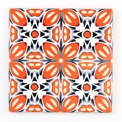 Retro orange flower tiles