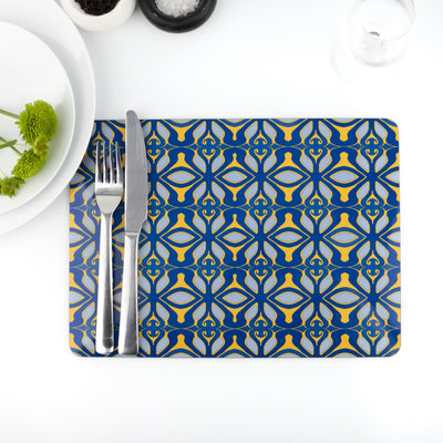 Blue grey yellow Moroccan style placemat