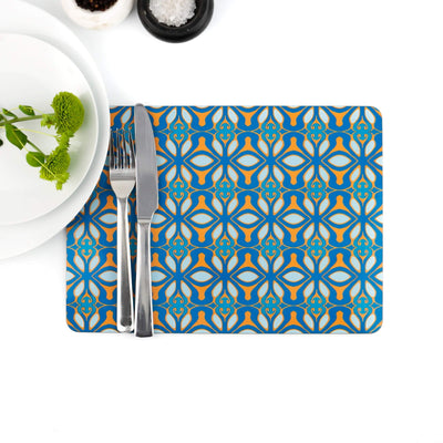 Blue turquoise orange placemat