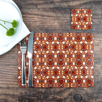 Rustic red cream table mat