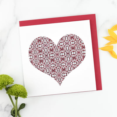 Red Heart Card, pretty Valentines card, Love Card flower design, scarlet love heart, blank lovers card, designed & printed in the UK. - DoodlePippin