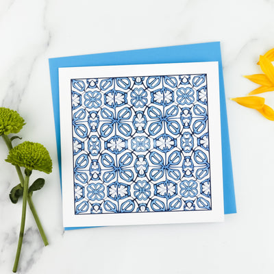 Blue Turkish Flower card - DoodlePippin