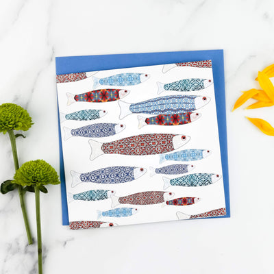 Fish school greeting card - DoodlePippin