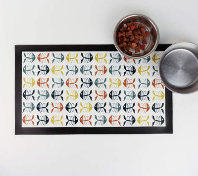 Multicolour 'Bonefish' scandi design pet food mat - DoodlePippin
