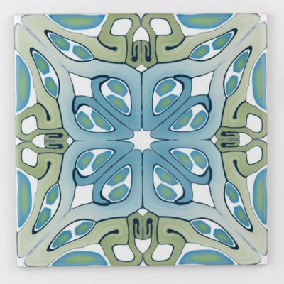 Art deco bathroom tiles in taupe, blue and green