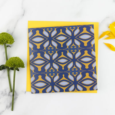 Geometric navy yellow grey card - DoodlePippin