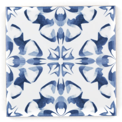 Patchwork tiles, blue white hand printed ceramic tiles