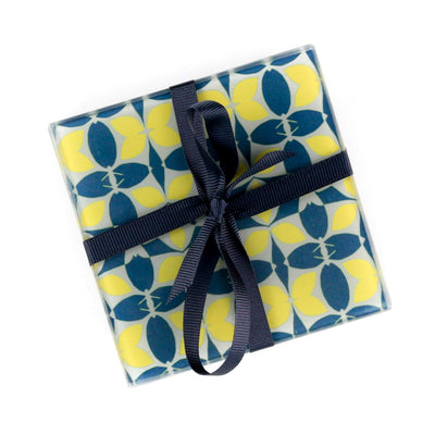 Zingy Yellow Navy Glass Coaster Set
