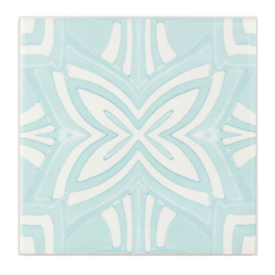 Turquoise and cream handmade kitchen tiles - DoodlePippin