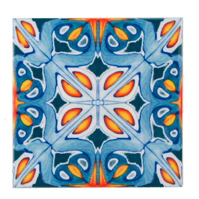 Cheerful Orange & Indigo ceramic tiles