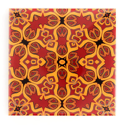 Bohemian Red gold ceramic handmade tiles