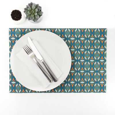 Cheerful orange blue 'Mexican' fabric placemat - DoodlePippin