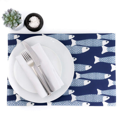 Ocean School Fabric Placemat, dark blue - DoodlePippin