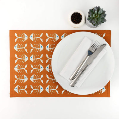 Orange Turquoise Bonefish Placemat - DoodlePippin