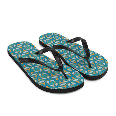 Striking Blue Orange Turquoise Moroccan design flip flops, colourful beach thong shoes, water sandals, holiday wear, beach slip-ons. - DoodlePippin