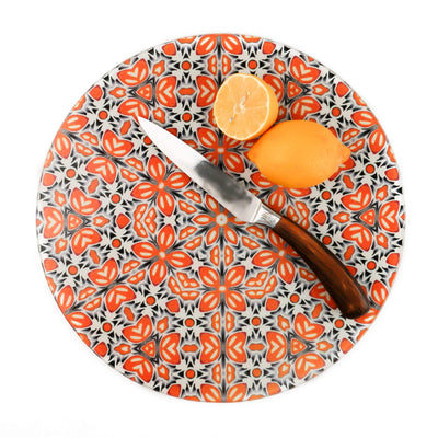 Retro Orange 'Fox Flower' trivet - 30cm / 12 inch Heatproof Chopping Board - DoodlePippin