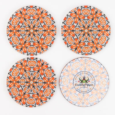 Orange 'Fox Flower' Coasters