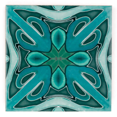 """Malachite Twining"" Green blue kitchen tiles"