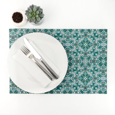 """Flourishing Garden"" large fabric dining table mat - DoodlePippin"