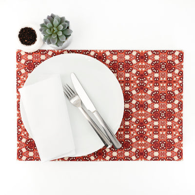 Red Orange Cream Dining Table Mat - DoodlePippin