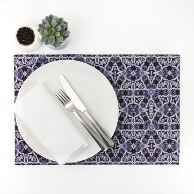 Elegant Purple Silver Place Mat - Extra Large Fabric Dining Mat - DoodlePippin