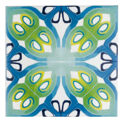 Art deco blue green tile