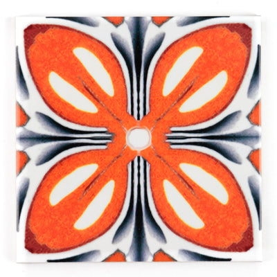 Orange Grey 'Fox Flower' Tiles