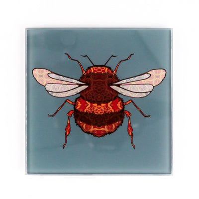 Bumble Bee Coaster Set - blue grey