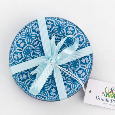 "Blue ""Turkish Flower"" Coaster Set - DoodlePippin"