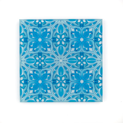 Blue art deco coaster set