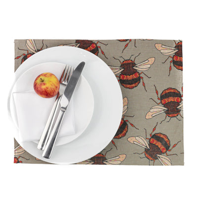 Medium Red Gold Bumblebee Fabric Placemat - DoodlePippin