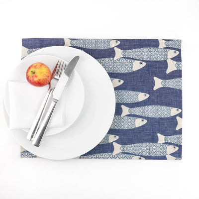 Medium Ocean School Fabric Placemat, denim blue - DoodlePippin