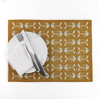 Burnt Orange Bone Fish Fabric Placemat - Medium - DoodlePippin