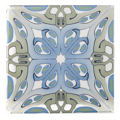 """Suzanne"" muted green blue art deco tiles - Fired Ink Version"