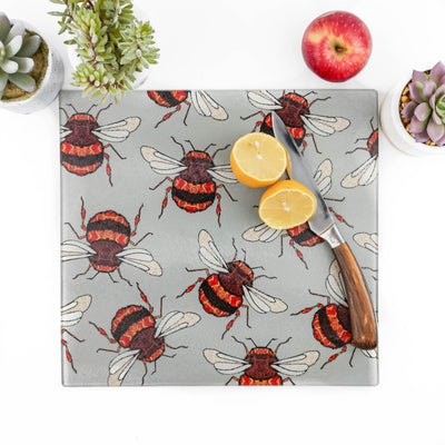 Red Gold Bumble Bees Worktop Protector - DoodlePippin