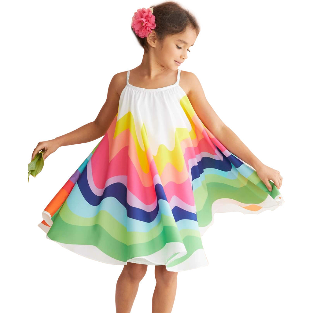 2020 Rainbow Print Princess Dress