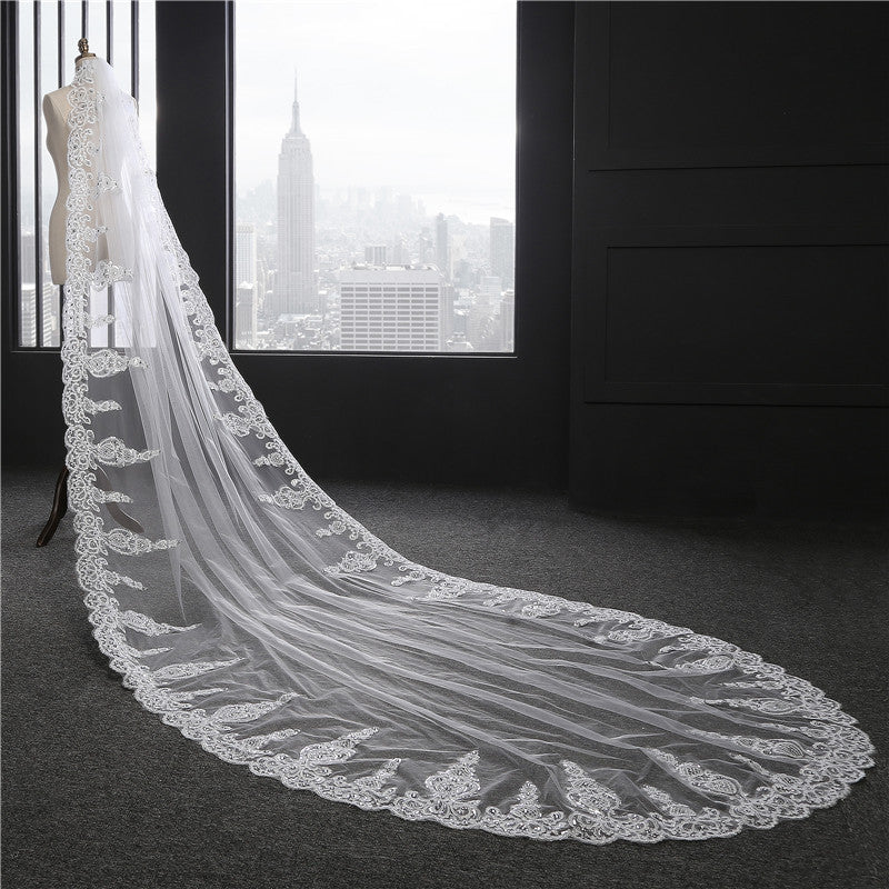 Wedding Cathedral Veil 1Tier Lace applique edge Bridal Veil