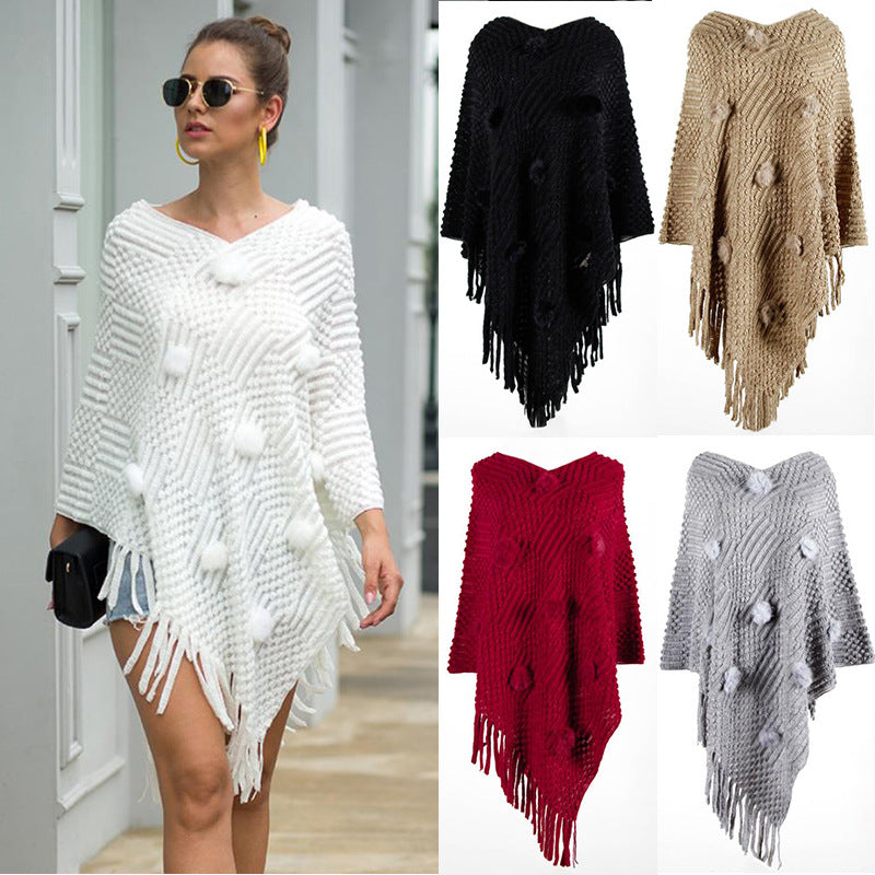 Autumn Fringed Cape Shawl Hair Ball Sweater