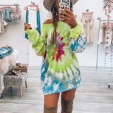 Spiral Tie-dye Print Round Neck Sweatshirt Dress