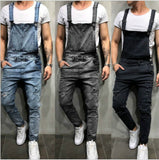 Mens Denim Bib Overalls Jumpsuit Long Pants