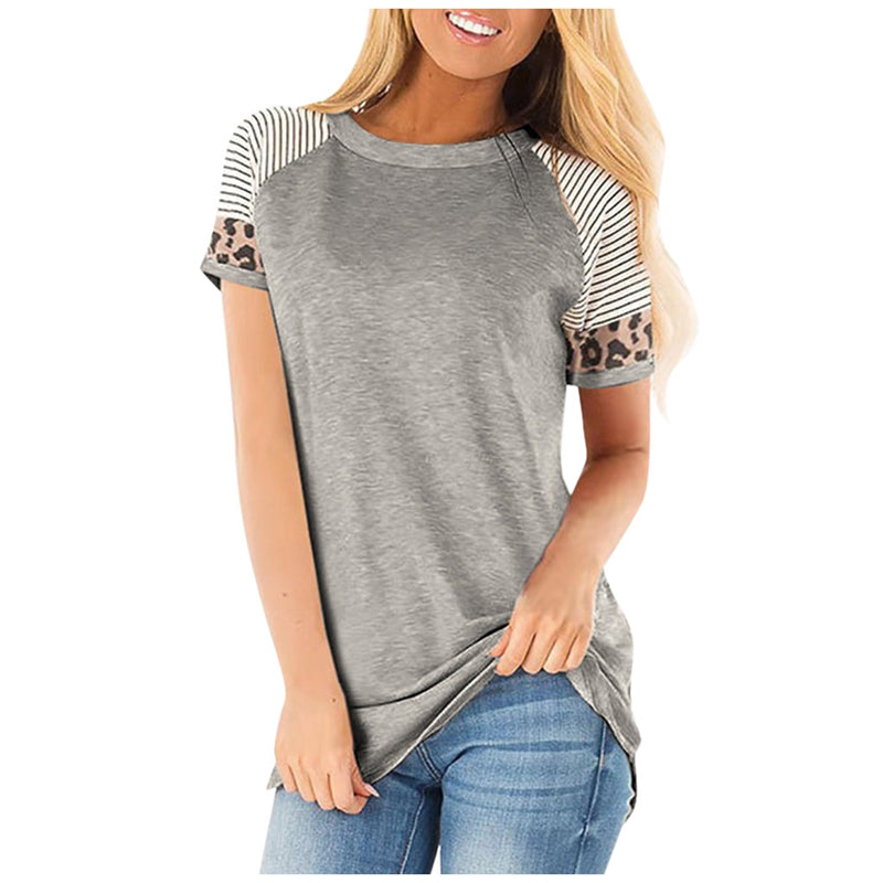 New Leopard Striped Splice Short Sleeve Round Neck Loose Top