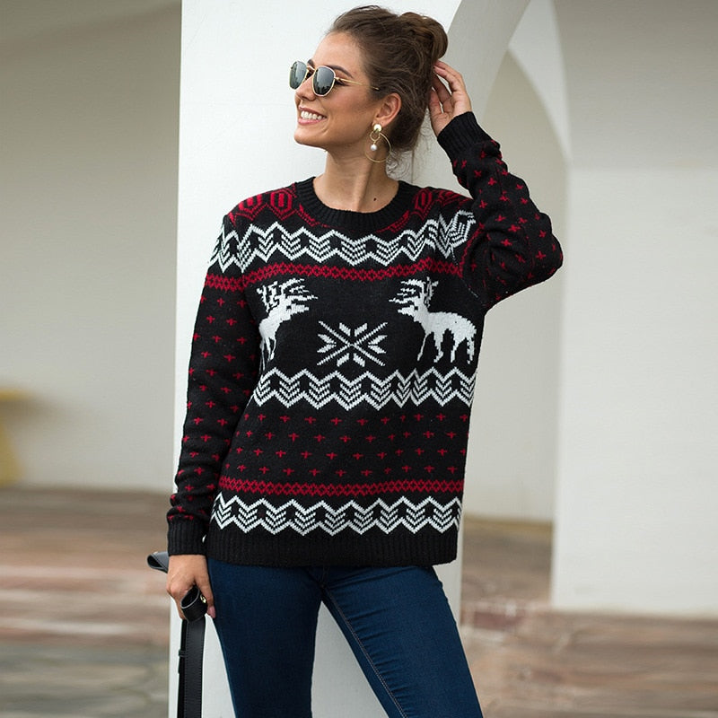 Christmas Sweater Classic Snow and Deer Thick Knitted Pullovers