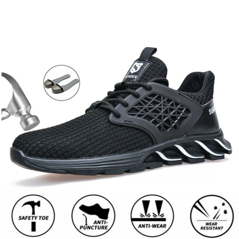Mens Safety Work Shoes Anti-Smashing Steel Toe Boots Construction Shoes Work Sneakers