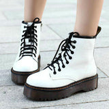 Autumn Ladies Low Heels Boots Women Cross-tied Vintage Shoes