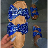 Womens Wood Grain Bottom Bow Flat Sandals Slippers