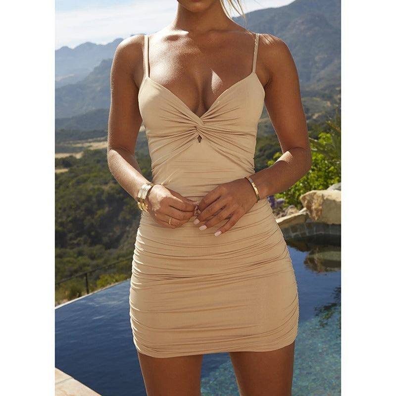 Womens Pleated Sling Dress