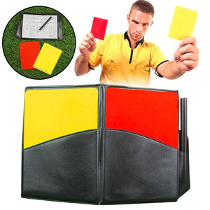 Fluorescent Red Yellow Cards with Leather Wallet