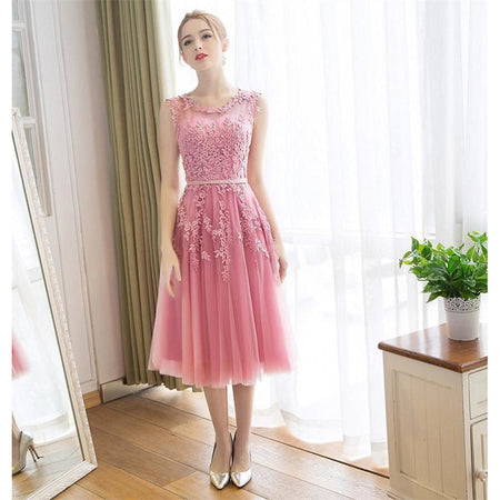 Casual Dress A-Line Illusion Neck Tea Length Lace / Satin Beautiful Back Prom Dress with Appliques by LAN TING Express