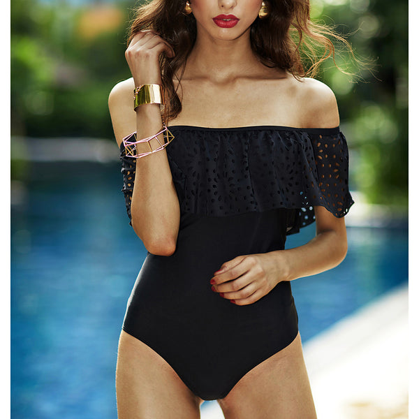 Women's Off Shoulder Ruffle Sexy Off Shoulder Black Briefs One-piece Swimwear - Solid Colored Black Ruffle M L XL Black